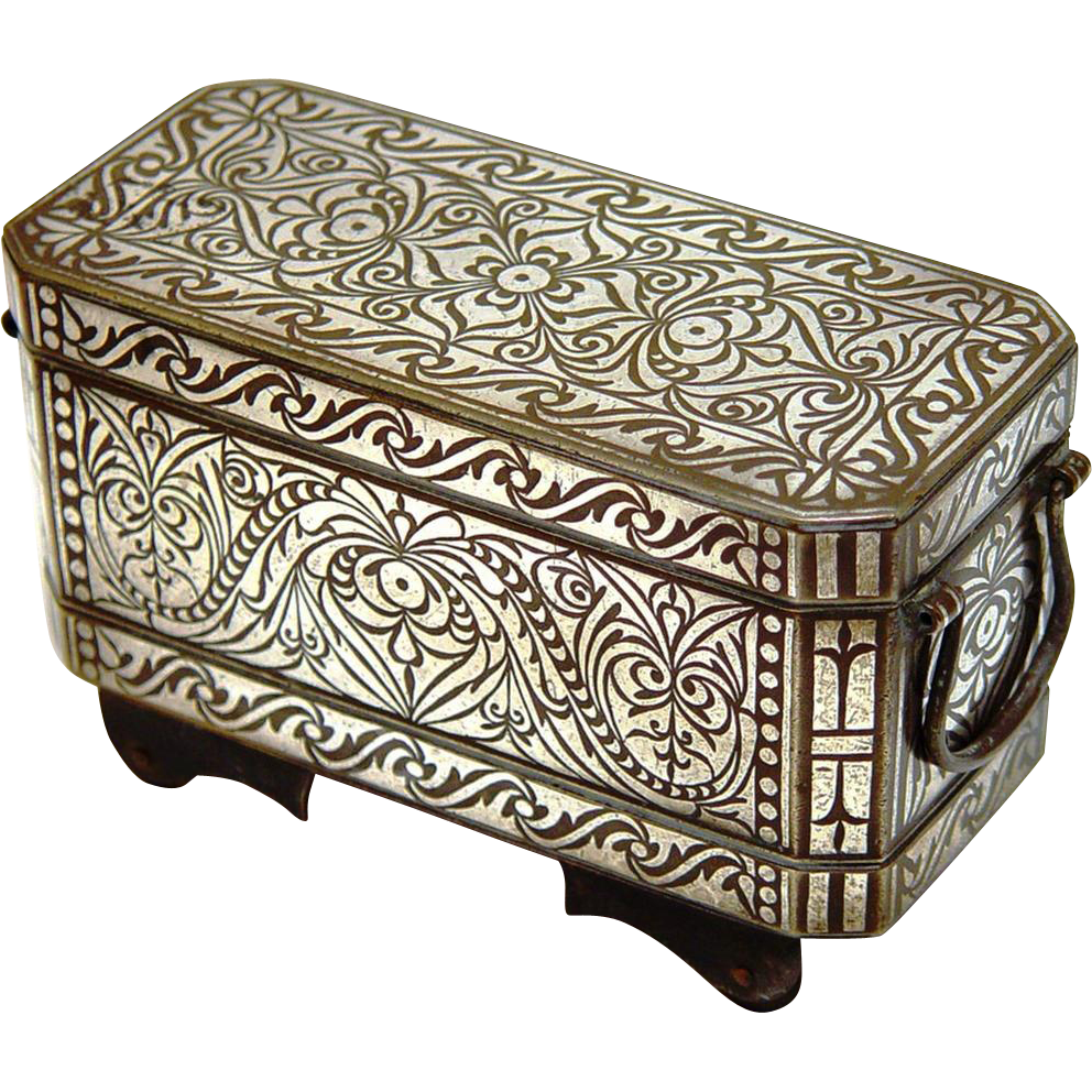 Complete Niello Betel Box with Wheels, Philippines, c1900