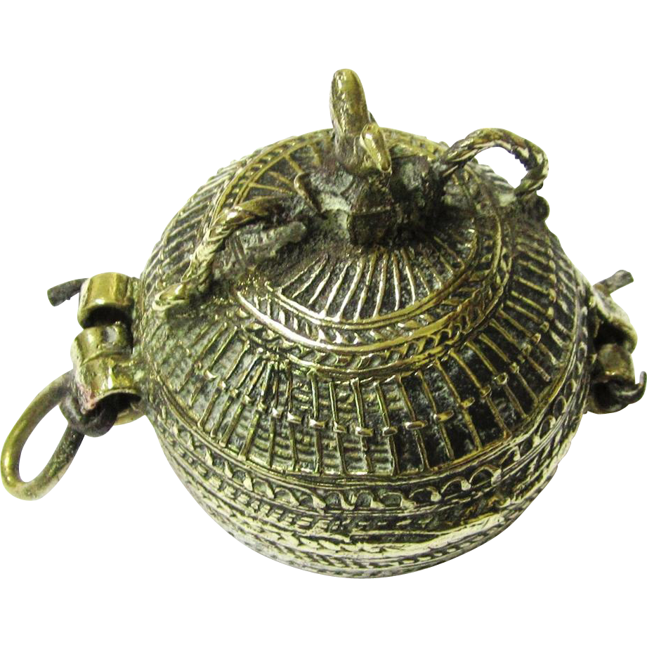 Indian Spherical Brass Holder for Lime Paste (Chunum) for Creating a Betel Quid