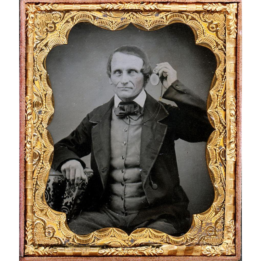 Amazing Ambrotype depicting Victorian Gentleman Listening to Watch Attached to his Guard Chain, c1860