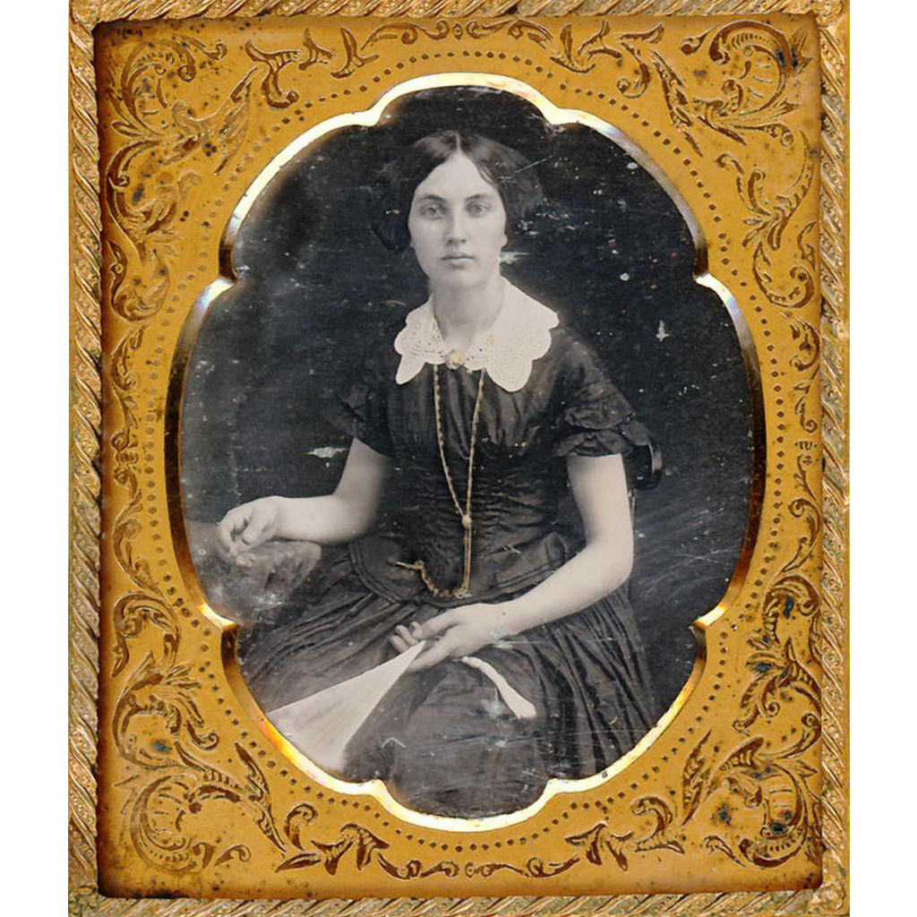 Beautiful Daguerreotype of Lady with Fan, Guard Chain & Watch, c1850