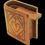 American Folk Art Spruce Gum Box in Book-form