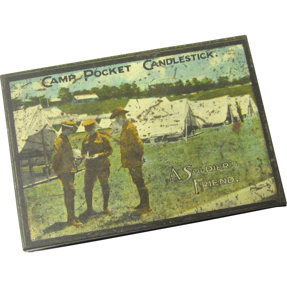 "Tole Camp Pocket Candlestick ""A Soldier's Friend"", Australian Militaria, Patent 1915"