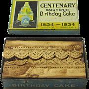 Commemorative Cake Box for Centenary of Victoria, Australia, Complete, 1934