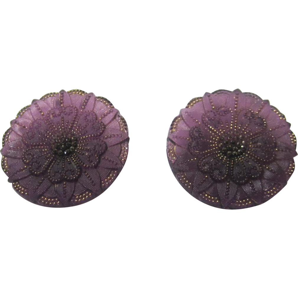Exquisite Pair of Amethyst Glass & Gilt Buttons, c1820