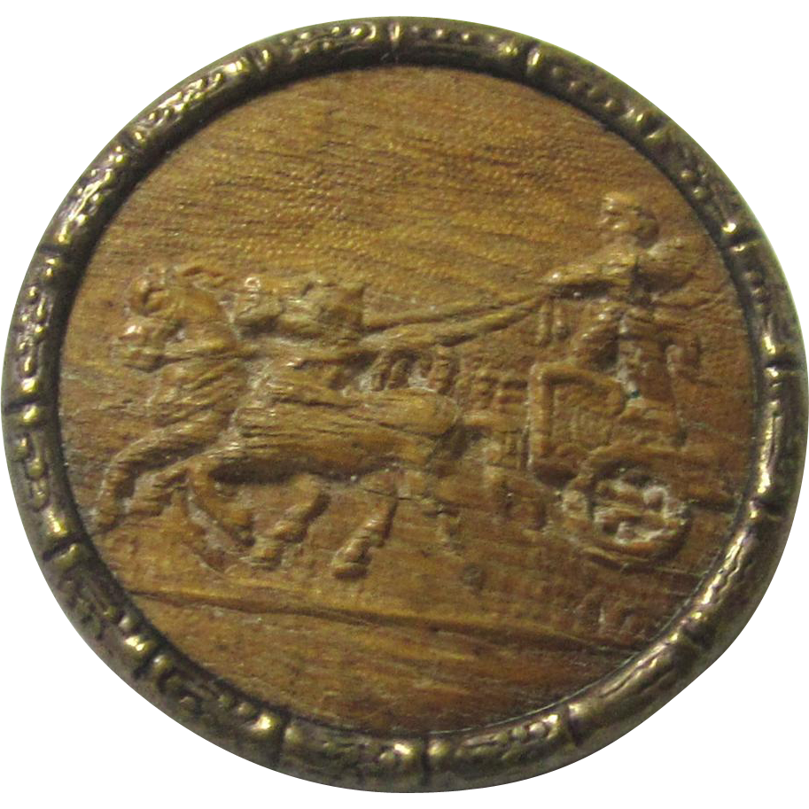 Attractive Wood Button depicting a horse-drawn Charioteer, likely to be cupid, late 19th century