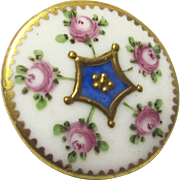 French Porcelain Button with Enamel Decoration, c1820