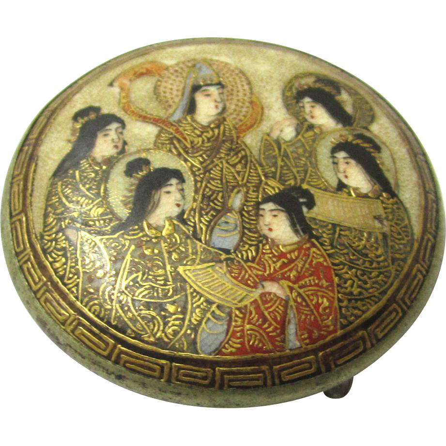 Classic Satsuma Buckle with Six Geisha Girls, late Victorian