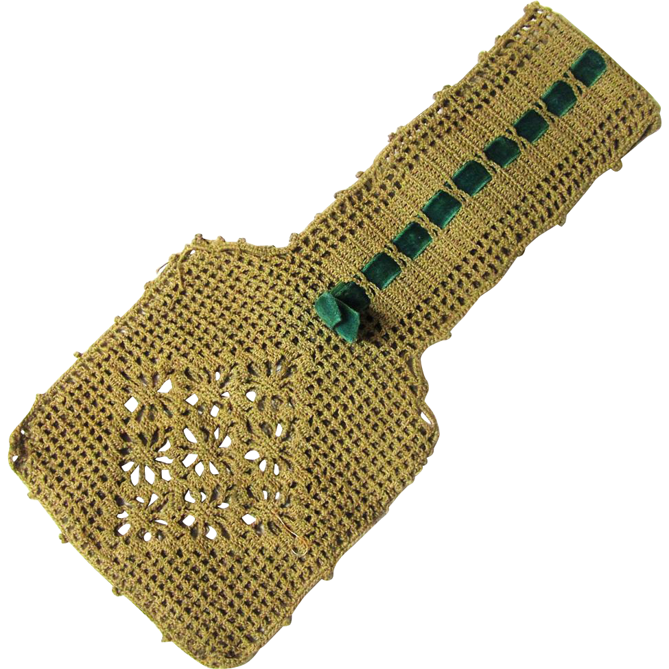 Small Purse of Crochet & Velvet Ribbon for Wrist or Waist-hung, early 20th Century