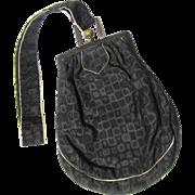 Small Heavily Figured Black Silk Purse with Ecru Trim & Brass Frame, Vintage