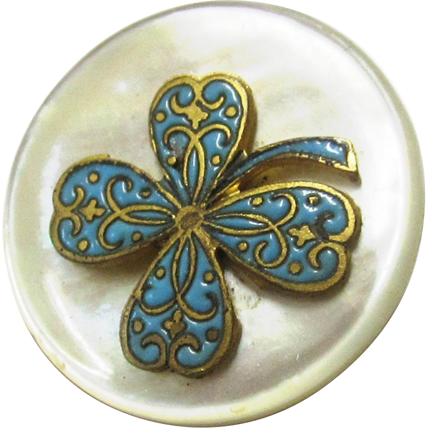 Mother of Pearl & Turquoise Enamel Button with Four Leaved Clover Design, c1820
