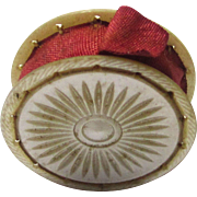 Mother of Pearl Pin Wheel with Red Silk Ribbon, mid-19th Century