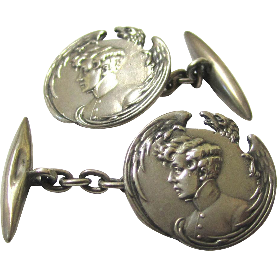 Intriguing Art Nouveau Silver Cufflinks depicting Napoleon II with Eagle Motif