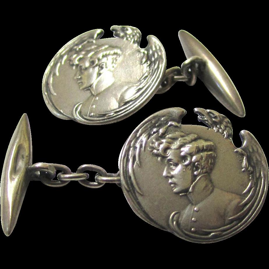 Intriguing Art Nouveau Silver Cufflinks depicting Napoleon II with Eagle Motif