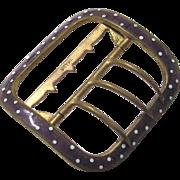 Vintage Brass with Lavender & White Polka dot Enamel Adjustable Buckle