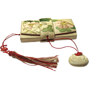 Japanese Purse or Hakoseko, Embroidered, with Tissues, Page Turner, Mirror & Small Pouch, 20th Century
