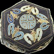 Delightful Embroidered Chinese Fabric Box with Interlocking Flaps & Auspicious Symbols