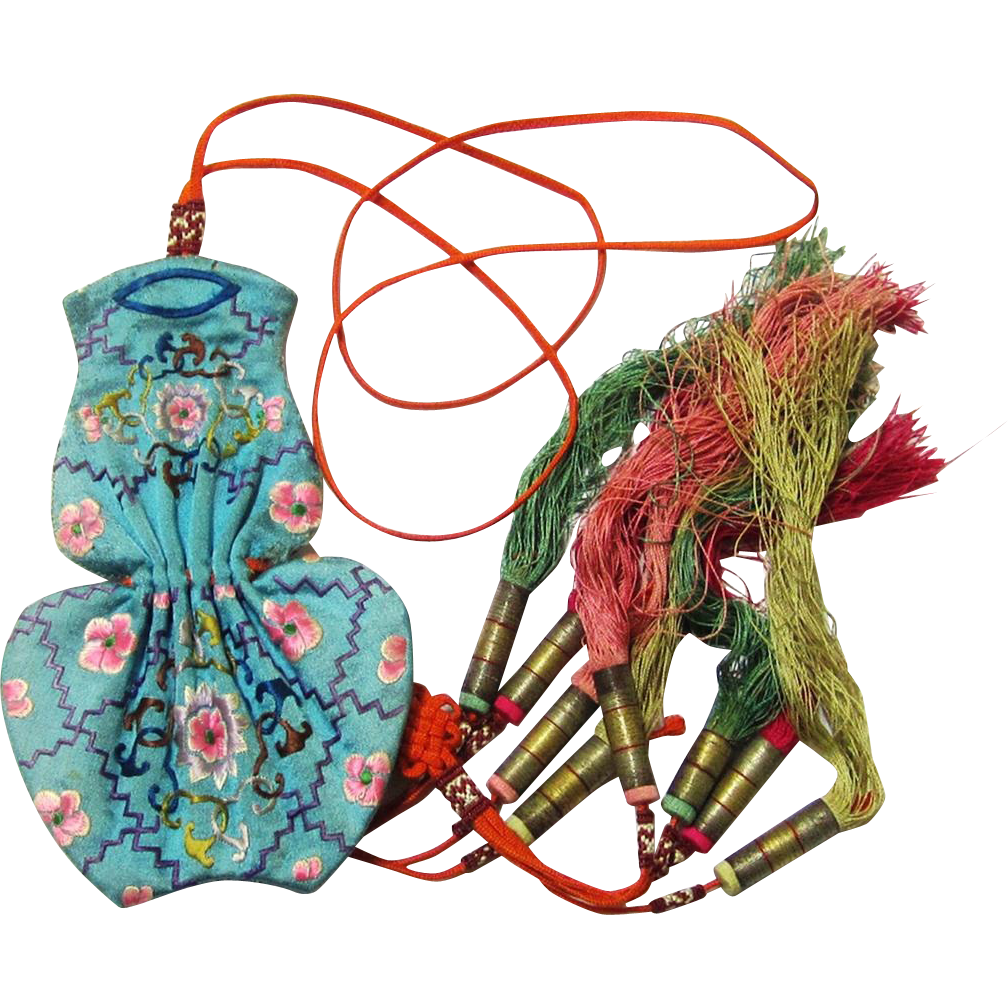 Quality Chinese Tobacco Purse, Embroidered Silk with Decorative Tassels, c1880