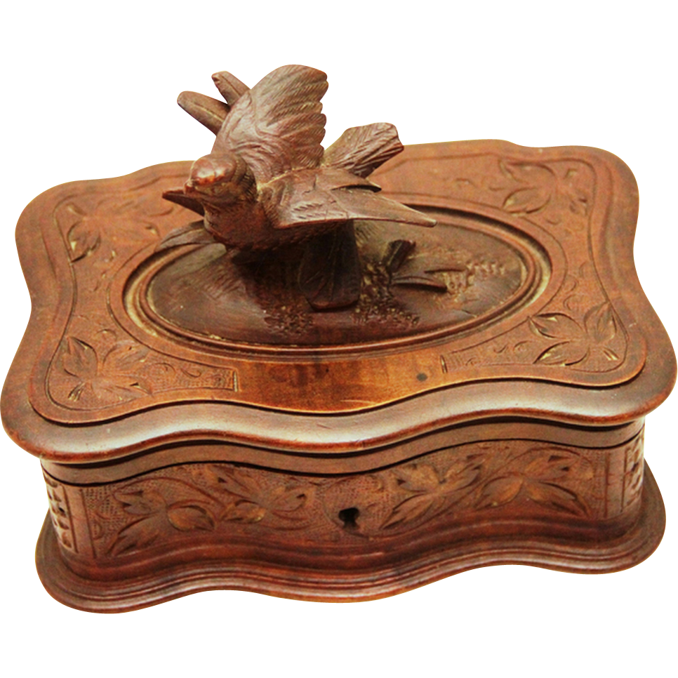 Black Forest Small Jewelry Box with Carved Treen Bird, c1918