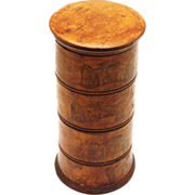 Rare Tunbridge Spice Tower with Four Labelled Compartments, c1860