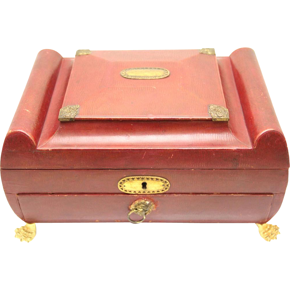 Classic Large Georgian Red Leather Sewing Box with Gilt Fittings & Intricate Compartments