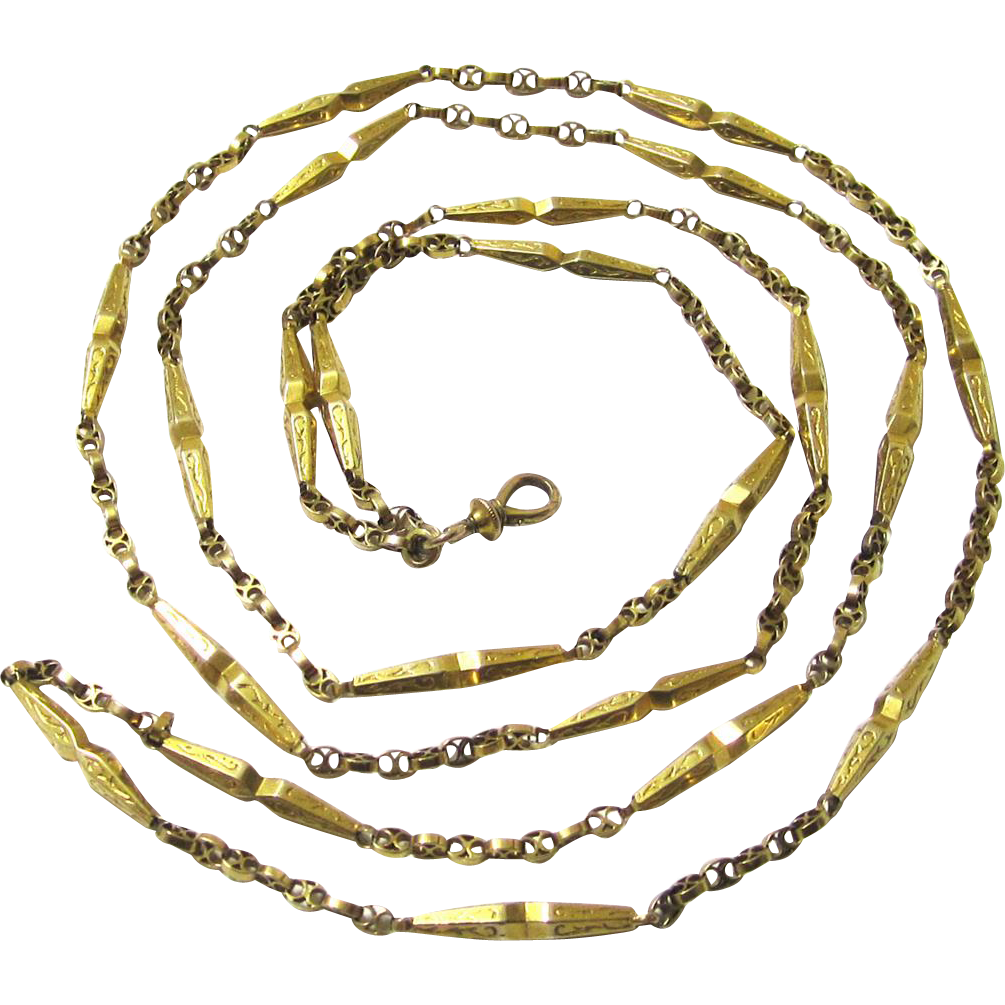 Stylish 14 Carat Gold Guard Chain with Swivel, c1860