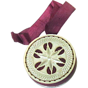 Carved Mother of Pearl Pin Wheel with Deep Pink Silk Ribbon, c1860