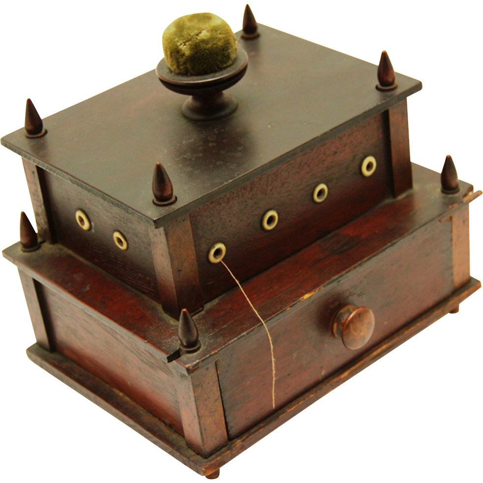 Early Shaker Sewing Box, Folk Art, Two Layers & Pincushion, dated 1836