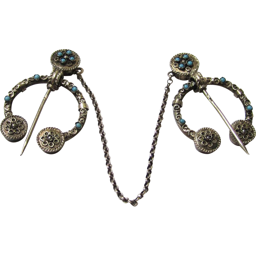 Silver & Turquoise Cloak Pins, French, mid-late 19th Century