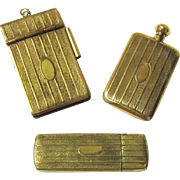 Matching Brass Perfume Bottle, Notebook & Small Container, early 20th Century