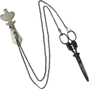 French Silver Scissors Chatelaine with two chains and Monogram