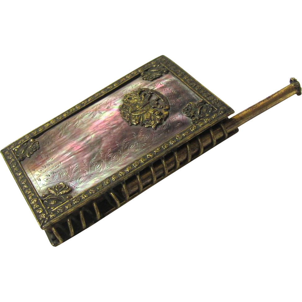 Exquisite French Aide Memoir, Black Mother of Pearl & Gilt, c1822