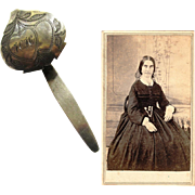 American Civil War Era Chatelaine for a Watch with Illustrative Carte De Visite, 1860s