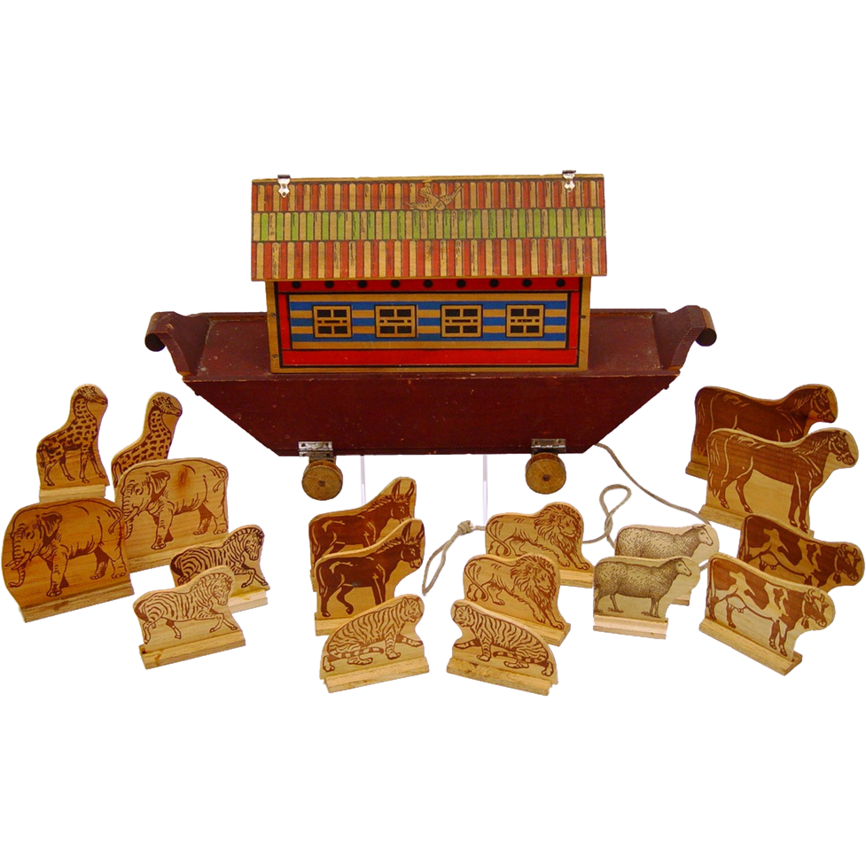 Noah's Ark Pull Toy with Wooden Animals