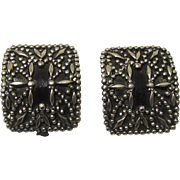 Pair of Silver Metal & Black Leather Shoe Buckles, Victorian