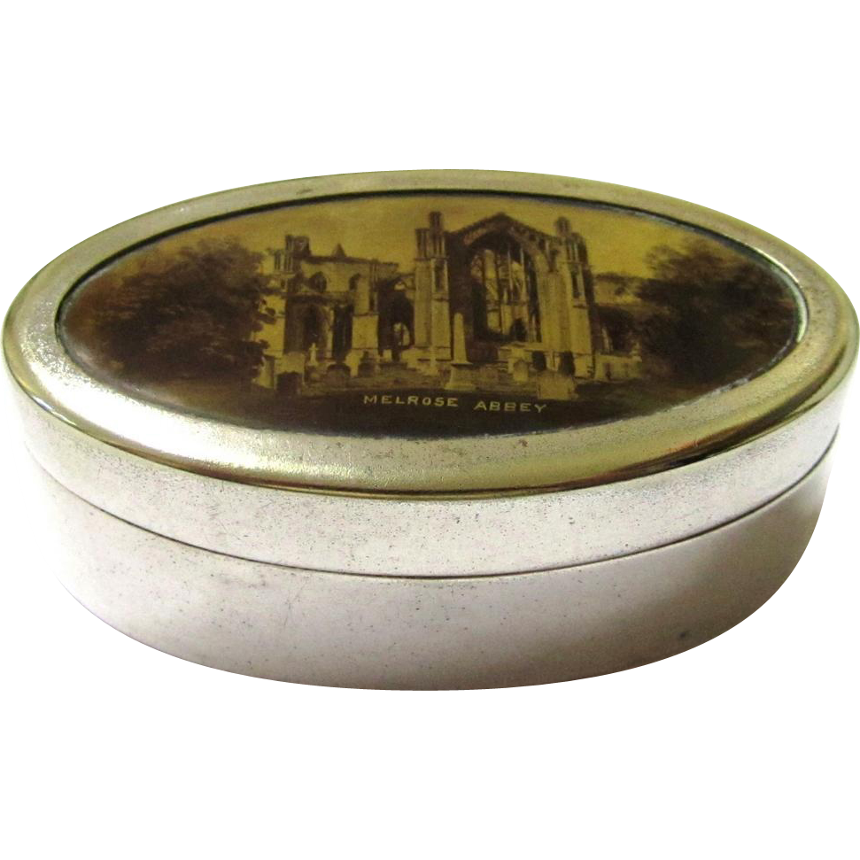 Scottish Souvenir EPNS & Sepia Transfer Print Pill Box, late 19th Century