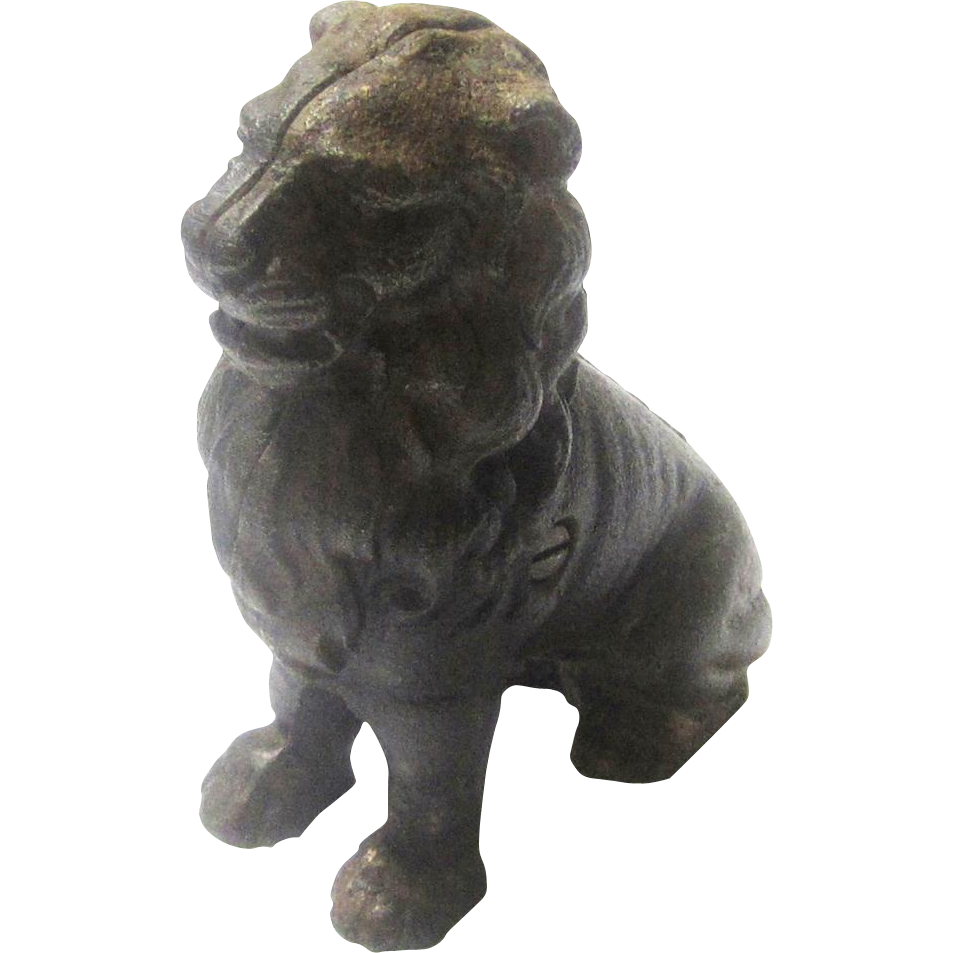 Seated Cast Iron Lion Still Bank/Money Box, John Harper Ltd, 1911