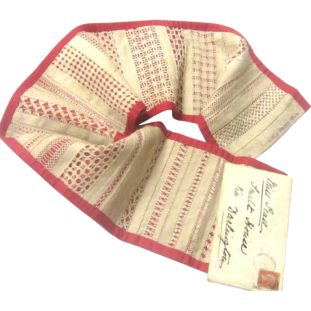 Folding Sampler with Intricate Needlework, Dated 1864, by 9 Year Old Child
