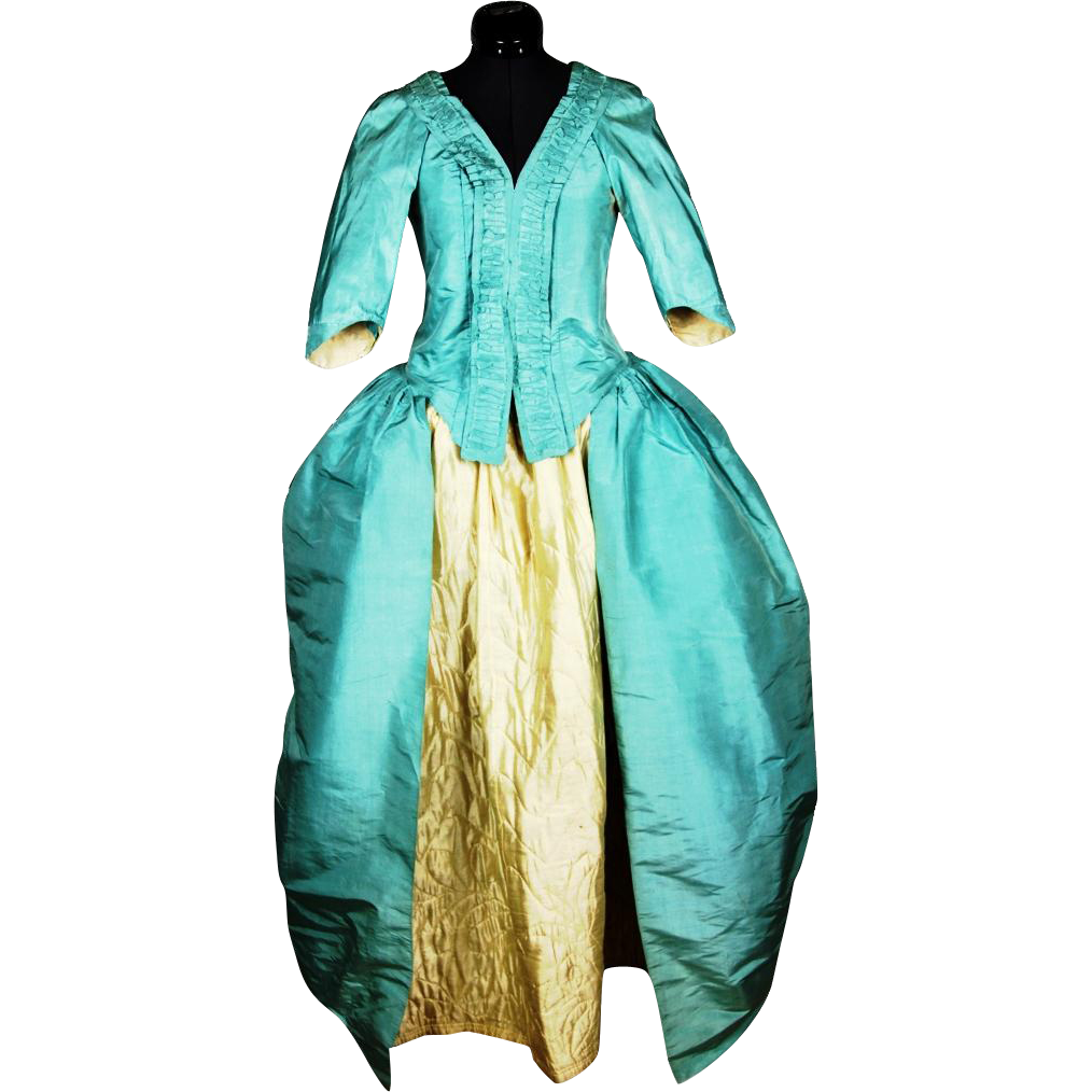 Gorgeous Blue Silk Polonaise Gown with Cream Silk Quilted Petticoat, late 18th Century