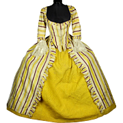 Stunning Complete French Pannier Gown & Quilted Petticoat, c1770