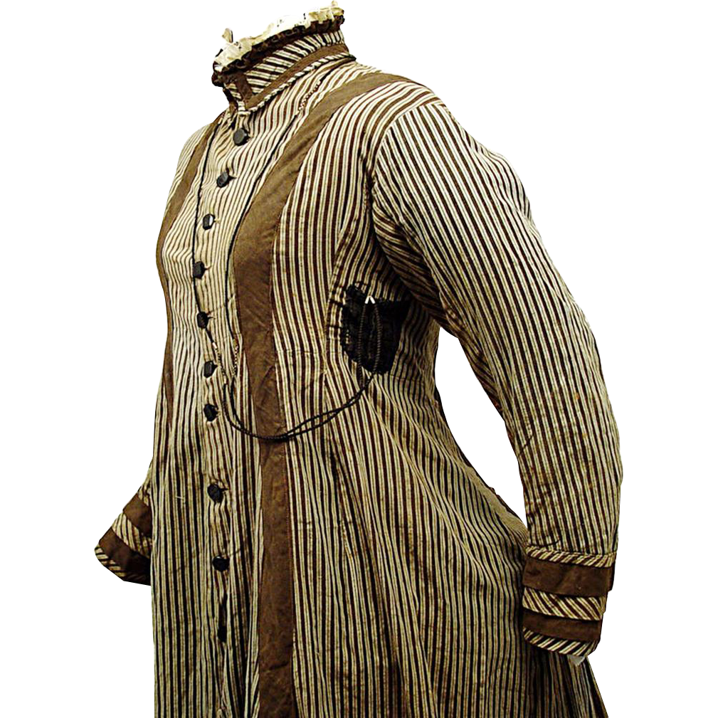 Victorian Daytime Cotton Wrapper with Watch Pocket, c1875