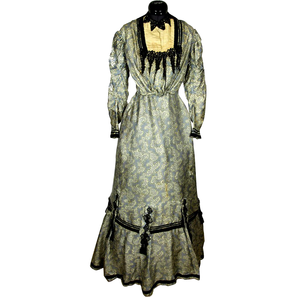 Two-piece Late 19th Century Silk Patterned Gown with Jet, Lace & Velvet Trim