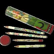 "Walt Disney/Australian Bank ""Three Little Pigs"" Pencil Box & Pencils, Vintage"