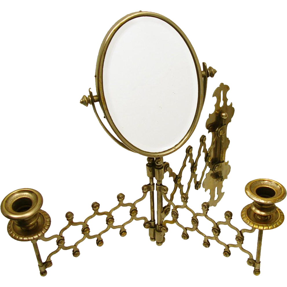 Intriguing Accordion/Folding Travel Mirror with Candle Sconces, early 19th Century