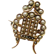 Rare Lyre-form Gold & Seed Pearl Brooch with Rings for a Chain, late 19th Century