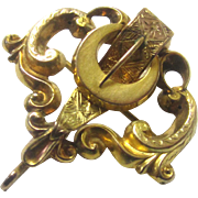 Quality Gold Buckle-form Chatelaine Brooch Watch Holder, Victorian