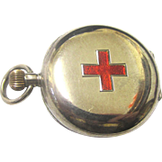 Lovely Sterling Silver Red Cross Nurse's Fob Watch, early 20th Century