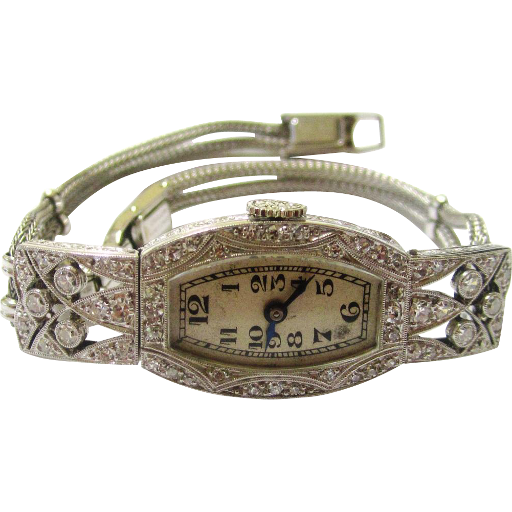 Beautiful Ladies Art Deco Wristwatch, Platinum, Diamonds, White Gold by Gubelin, c1925.