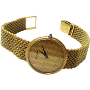 Rare Bueche Girod 18 Carat Gold Watch with Matching Mesh Bracelet and Dial, mid-20th Century