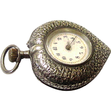Special Heart-shaped Pendant Pocket Watch, Swiss Silver, c1900