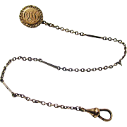 Gold Coat Watch Chain with Appropriate Date Advertisement, late 19th Century